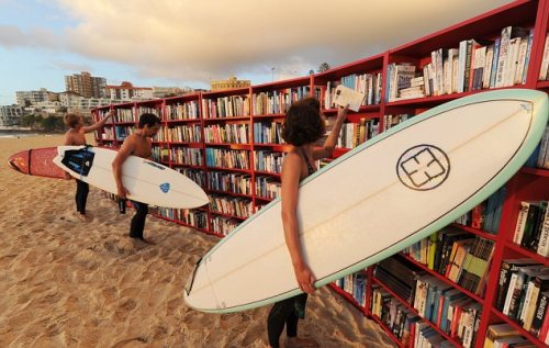 Celebrating the 30th birthday of the IKEA BILLY bookcase on Bondi Beach, Sydney, Australia